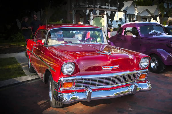 V8 Engine Photograph - 1956 Chevrolet Bel Air 210 Red by Rich Franco