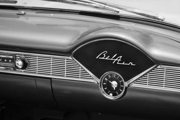 Dual Exhaust Photograph - 1956 Chevrolet Bel Air Convertible Painted Bw by Rich Franco