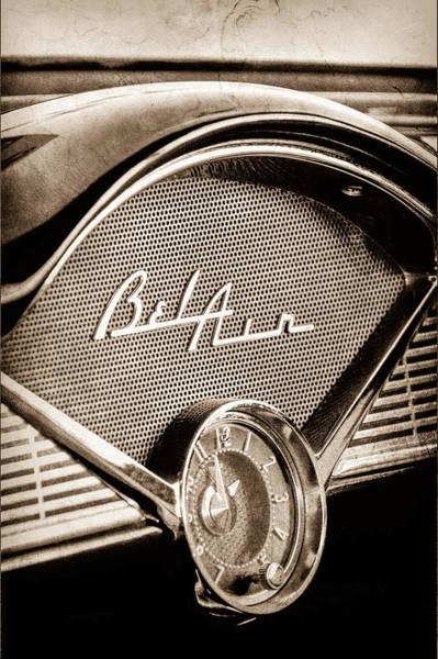 Chevrolet Bel Air Photograph - 1956 Chevrolet Belair Dashboard Emblem - Clock by Jill Reger