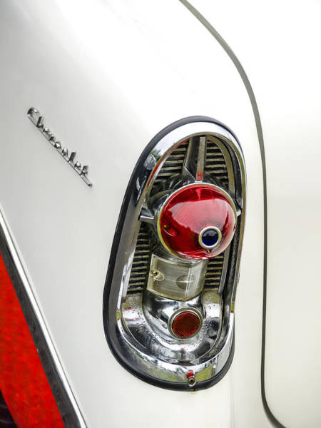 50s Wall Art - Photograph - 1956 Chevy Taillight by Carol Leigh