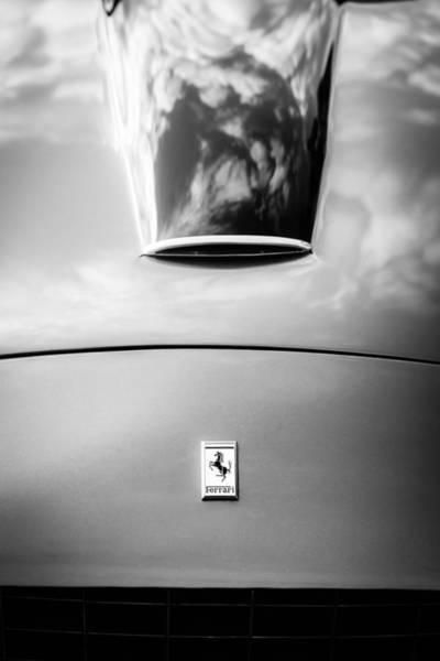 Photograph - 1956 Ferrari 250 Gt Zagato Berlinetta Hood Emblem -0364bw by Jill Reger