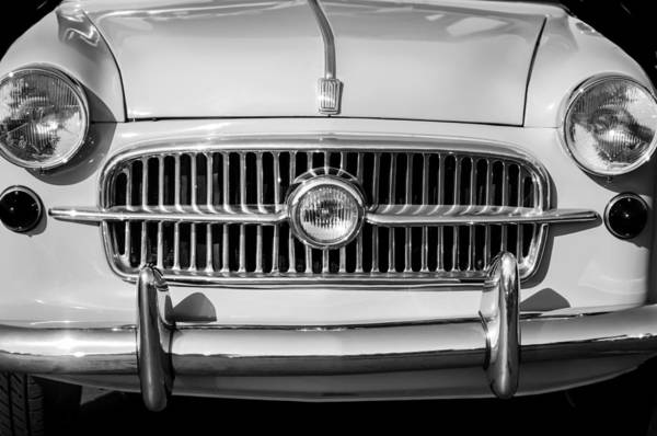 Photograph - 1956 Fiat 1100 Sedan Grille -0036bw by Jill Reger