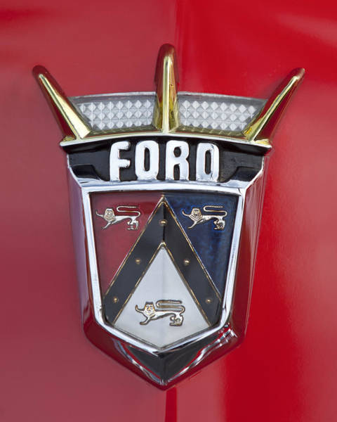 Ford Photograph - 1956 Ford Fairlane Emblem by Jill Reger