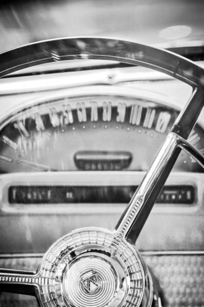 1956 Ford Thunderbird Photograph - 1956 Ford Thunderbird Steering Wheel -260bw by Jill Reger