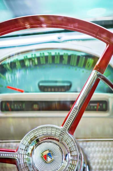 1956 Ford Thunderbird Photograph - 1956 Ford Thunderbird Steering Wheel -260c by Jill Reger