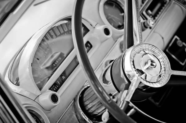 1956 Ford Thunderbird Photograph - 1956 Ford Thunderbird Steering Wheel -322bw by Jill Reger