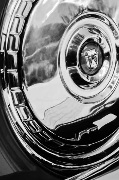 1956 Ford Thunderbird Photograph - 1956 Ford Thunderbird Wheel Emblem -232bw by Jill Reger