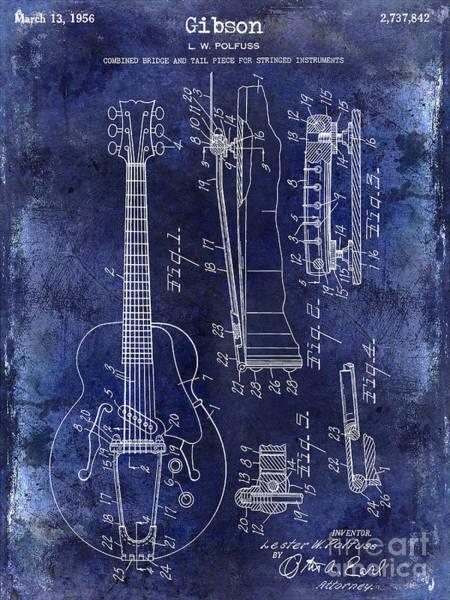 Guitar Neck Photograph - 1956 Gibson Electric Guitar Patent Drawing Blue by Jon Neidert