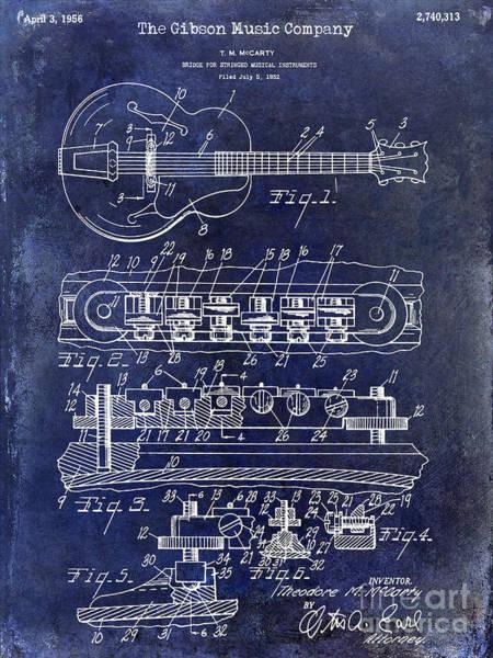 Guitar Neck Photograph - 1956 Gibson Guitar Patent Drawing Blue by Jon Neidert