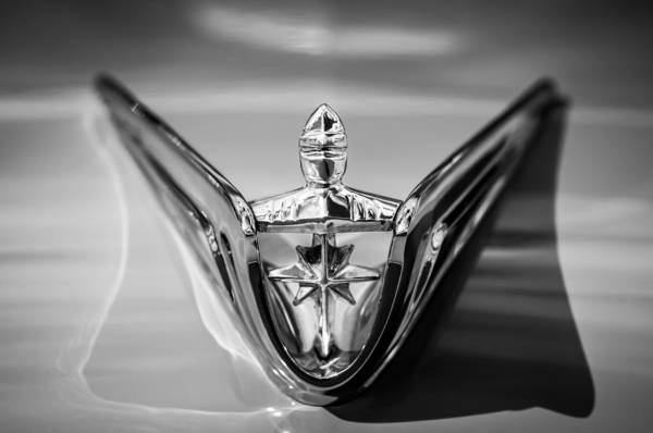 Photograph - 1956 Lincoln Premiere Hood Ornament -0815bw by Jill Reger