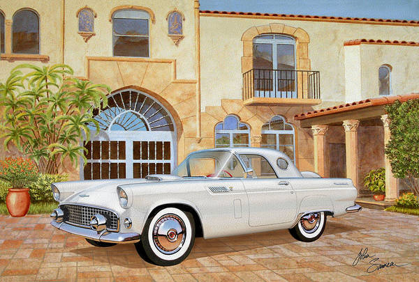 Car Show Painting - 1956 Thunderbird At Palm Beach  Classic Vintage Ford Art Sketch Rendering          by John Samsen