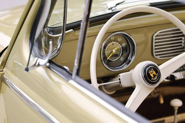 Volkswagen Photograph - 1956 Volkswagen Vw Bug Steering Wheel 3 by Jill Reger