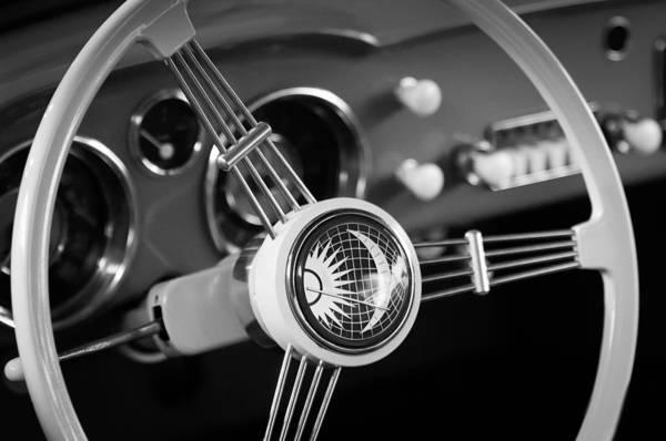 Volkswagen Photograph - 1956 Volkswagen Vw Karmann Ghia Coupe Steering Wheel Emblem by Jill Reger