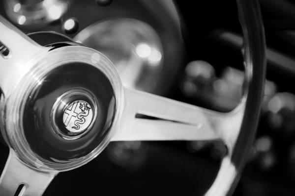 Photograph - 1957 Alfa-romeo 1900c Super Sprint Steering Wheel Emblem -1123bw by Jill Reger