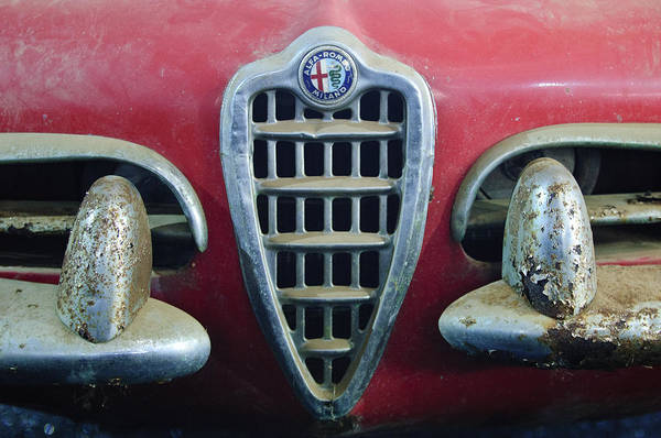 Photograph - 1957 Alfa Romeo Giulietta Spider Grille Emblem by Jill Reger