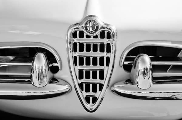 Photograph - 1957 Alfa Romeo Spider Grille Emblem -0784bw by Jill Reger