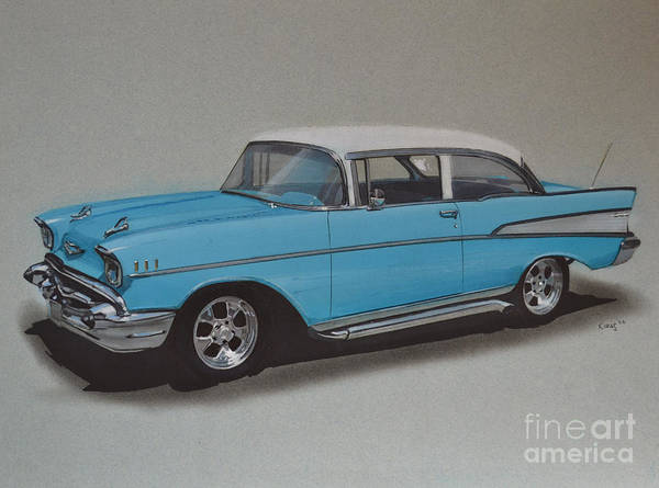 Chevrolet Drawing - 1957 Bel Air by Paul Kuras