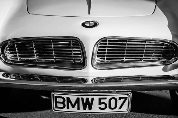Photograph - 1957 Bmw Hood Emblem - License Plate -0107bw by Jill Reger