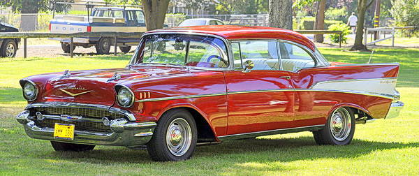 Photograph - 1957 Cherry Red Chevy by AJ  Schibig