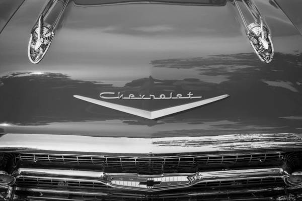 V8 Engine Photograph - 1957 Chevrolet Bel Air 283 Fuel Injected Painted Bw  by Rich Franco