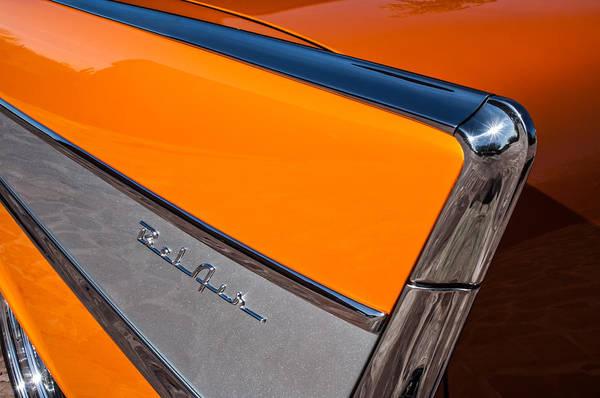 Chevrolet Bel Air Photograph - 1957 Chevrolet Belair Rear Emblem -037c by Jill Reger
