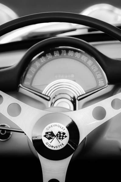 Car Part Photograph - 1957 Chevrolet Corvette Convertible Steering Wheel 2 by Jill Reger