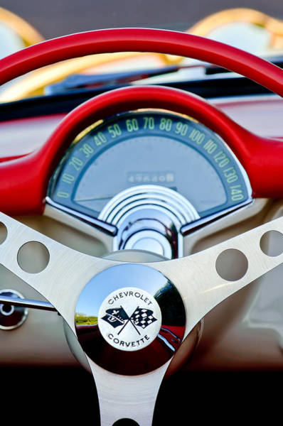 Photograph - 1957 Chevrolet Corvette Convertible Steering Wheel by Jill Reger