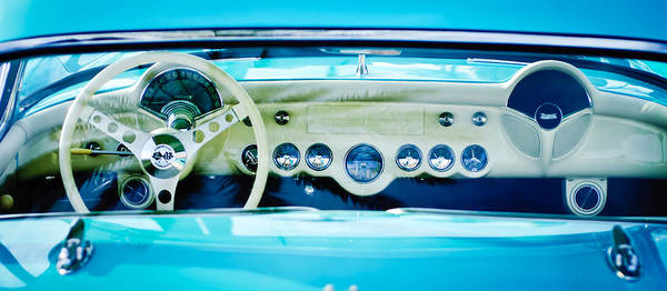 1957 Chevrolet Photograph - 1957 Chevrolet Corvette Dashboard -0258c by Jill Reger