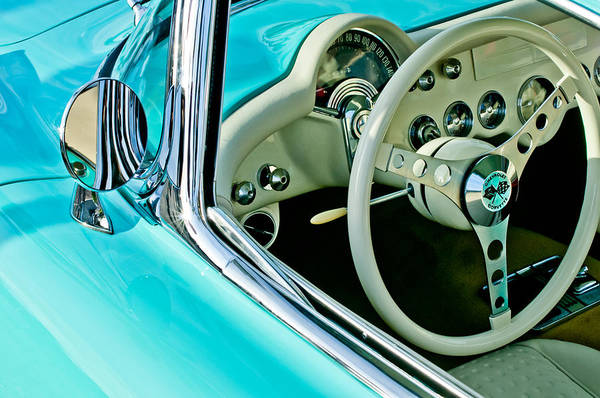 1957 Chevrolet Photograph - 1957 Chevrolet Corvette Steering Wheel Emblem by Jill Reger