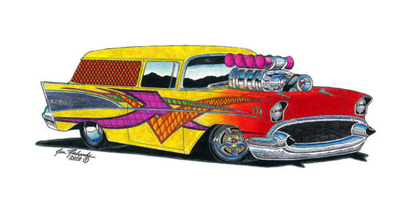 Nomad Drawing - 1957 Chevrolet Nomad by Jon Richards