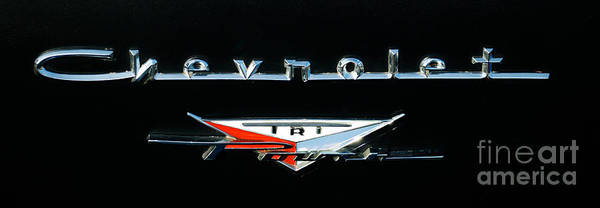 Photograph - 1957 Chevy 2 Door Sedan Logo by Mark Dodd