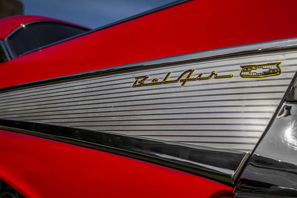 Photograph - 1957 Chevy Bel Air Tail Fin And Emblem by Ron Pate