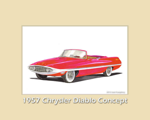 Classic Car Drawings Painting - 1957 Chrysler Diablo Convertible Coupe by Jack Pumphrey