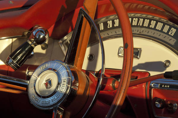 Ford Fairlane Photograph - 1957 Ford Fairlane 500 Skyliner Retractable Hardtop Convertible Steering Wheel by Jill Reger
