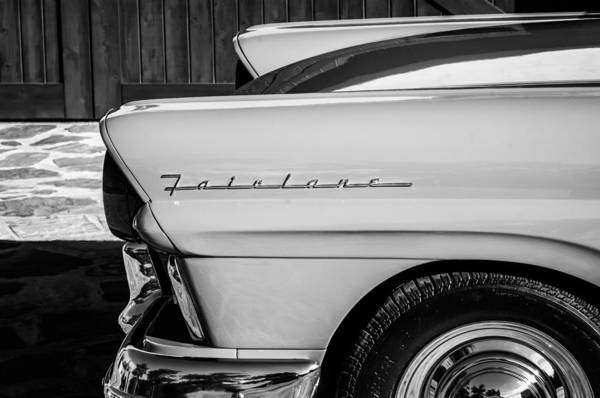 Ford Fairlane Photograph - 1957 Ford Fairlane Emblem -359bw by Jill Reger