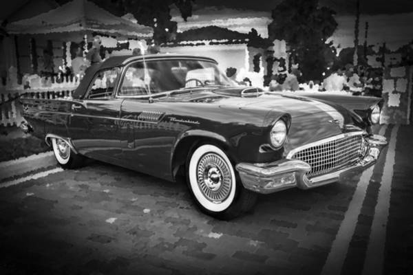 V8 Engine Photograph - 1957 Ford Thunderbird Convertible Bw by Rich Franco