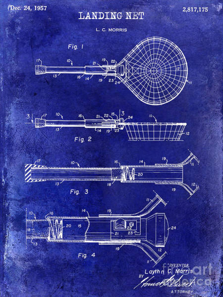 1957 Landing Net Patent Drawing Blue Art Print