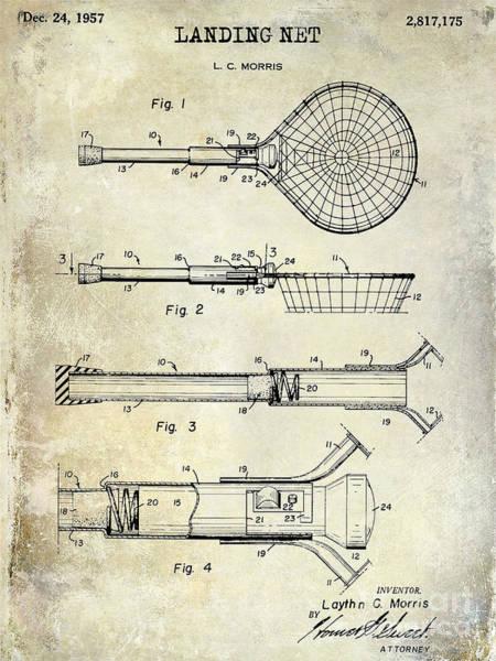 1957 Landing Net Patent Drawing Art Print