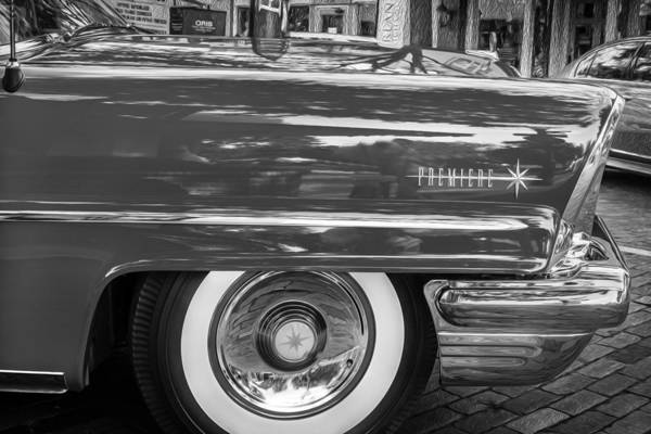 Photograph - 1957 Lincoln Premiere Coupe Painted Bw by Rich Franco