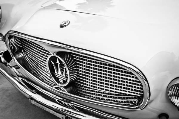 Photograph - 1957 Maserati Grille Emblem -0152bw by Jill Reger