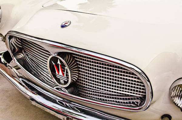 Photograph - 1957 Maserati Grille Emblem -0152c by Jill Reger