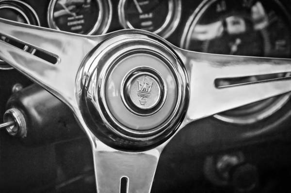 Photograph - 1957 Maserati Steering Wheel Emblem -0631bw by Jill Reger