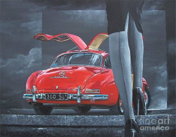 Painting - 1957 Mercedes Benz 300 Sl Gullwing Coupe by Sinisa Saratlic