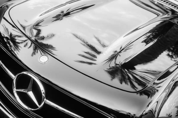 Wall Art - Photograph - 1957 Mercedes-benz 300sl Grille Emblem -0167bw by Jill Reger