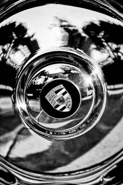 Photograph - 1957 Porsche Wheel Emblem -0551bw by Jill Reger