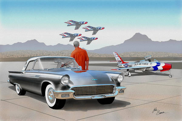 Wall Art - Painting - 1957 Thunderbird  With F-84 Gunmetal Vintage Ford Classic Art Sketch Rendering           by John Samsen