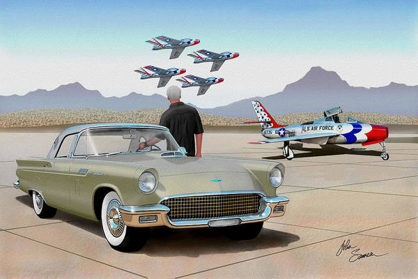 Car Show Painting - 1957 Thunderbird  With F-84 Thunderbirds Inca Vintage Ford Classic Art Sketch Rendering            by John Samsen