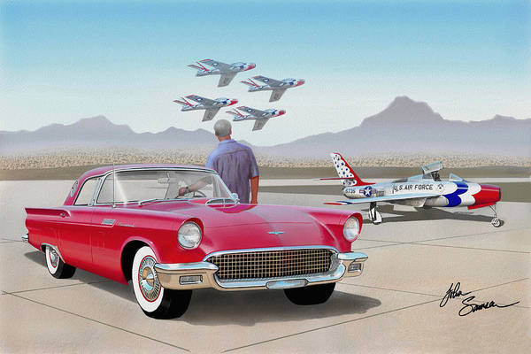 Wall Art - Painting - 1957 Thunderbird  With F-84 Thunderbirds  Red  Classic Ford Vintage Art Sketch Rendering         by John Samsen