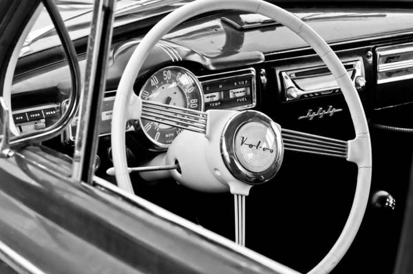 Photograph - 1957 Volvo Steering Wheel -1378bw by Jill Reger
