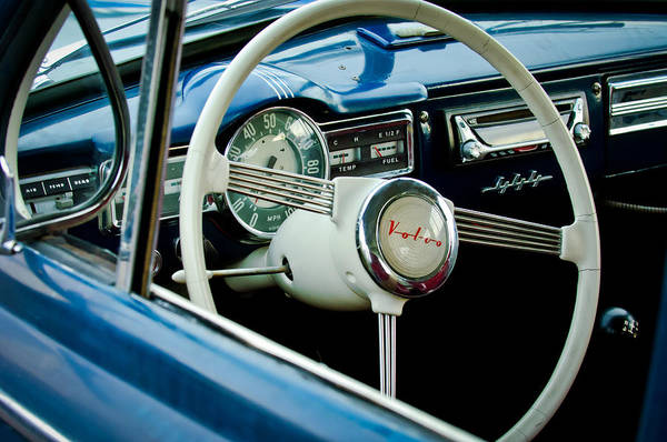Photograph - 1957 Volvo Steering Wheel -1378c by Jill Reger